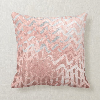 Pink Rose Gold Metal Blush Gold Gray Stripes Waves Throw Pillow