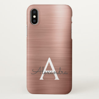 Pink Rose Gold Metal Elegant Monogram iPhone X Case