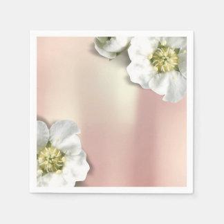 Pink Rose Gold Metallic Blush White Jasmine Napkin