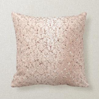 Pink Rose Gold Metallic Damask Royal Crystals Lux Throw Pillow