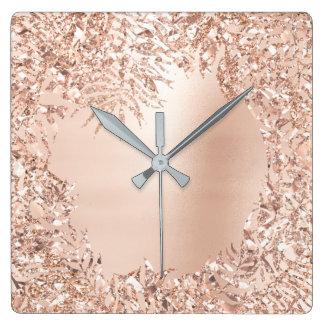 Pink Rose Gold Metallic Floral Botanical Glitter Square Wall Clock