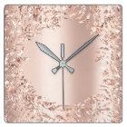 Pink Rose Gold Metallic Floral Glitter Blush Girly Square Wall Clock