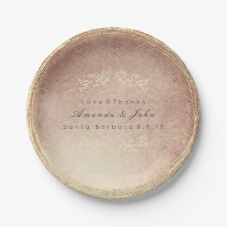 Pink Rose Gold Metallic Floral Wreath Copper Blush Paper Plate
