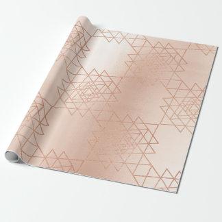 Pink Rose Gold Metallic Gold Hexagon Geometry Wrapping Paper