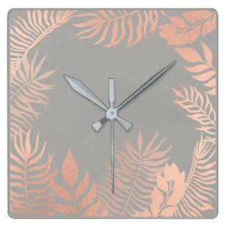 Pink Rose Gold Metallic Gray Palm Botanical Metal Square Wall Clock