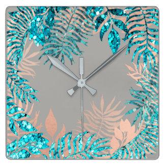 Pink Rose Gold Metallic Gray Palm Botanical Ocean Square Wall Clock