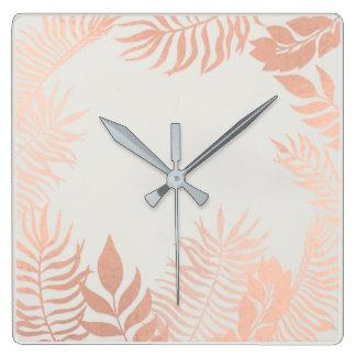 Pink Rose Gold Metallic Gray Palm Botanical Pastel Square Wall Clock