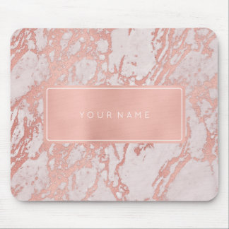 Pink Rose Gold  Metallic Marble White Rectangular Mouse Pad