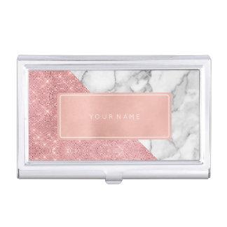 Pink Rose Gold Metallic Minimal White Gray Marble Business Card Holder