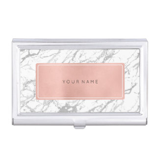 Pink Rose Gold Metallic Minimal White Marble Gray Business Card Holder