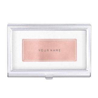 Pink Rose Gold Metallic Minimal White Rectangula Business Card Holder