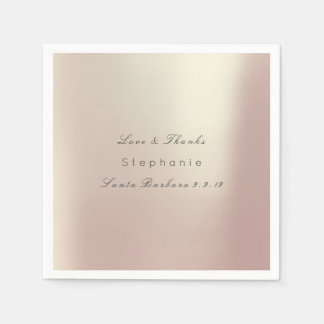 Pink Rose Gold Metallic Minimalism11 Wedding Napkin