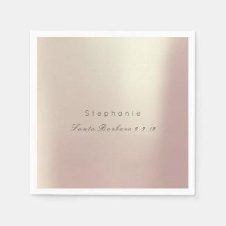 Pink Rose Gold Metallic Minimalism 1 Wedding Disposable Napkins
