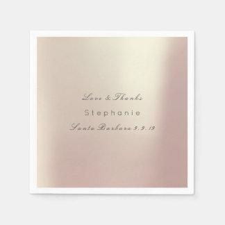 Pink Rose Gold Metallic Minimalism Wedding Paper Napkin