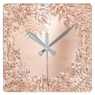 Pink Rose Gold Metallic Palm Botanical Glitter Square Wall Clock