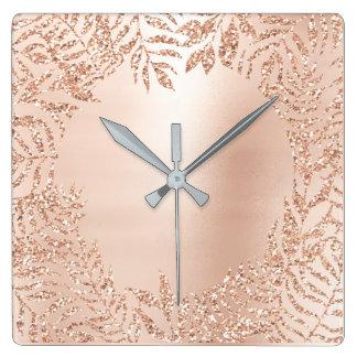 Pink Rose Gold Metallic Palm Botanical Metal Lux Square Wall Clock