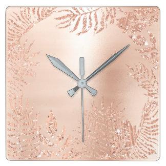 Pink Rose Gold Metallic Palm Botanical Metallic Square Wall Clock