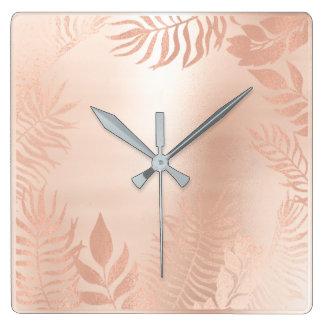 Pink Rose Gold Metallic Palm Botanical Pastel Square Wall Clock