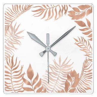 Pink Rose Gold Metallic Palm Botanical White Gray Square Wall Clock