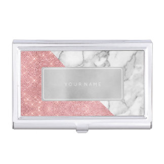 Pink Rose Gold Metallic Silver White Gray Marble Business Card Holder