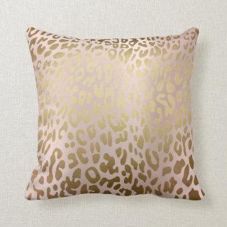 Pink Rose Gold Metallic Steel Leopard Animal Skin Throw Pillow