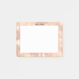 Pink Rose Gold Office Name Telephone Web FB Post-it Notes