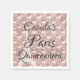 Pink Rose Gold Paris Quinceañera Celebration Paper Napkins