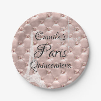 Pink Rose Gold Paris Quinceañera Celebration Paper Plate