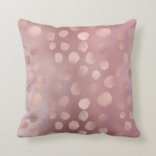 Pink Rose Gold Polka Dots Grey Deluxe Glass Frozen Throw Pillow