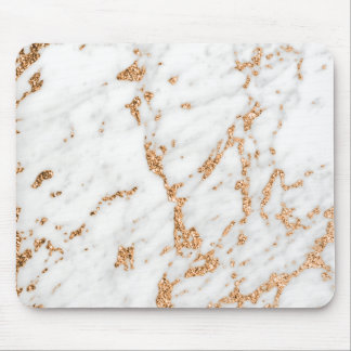 Pink Rose Gold Powder Copper White Gray Marble Mouse Pad