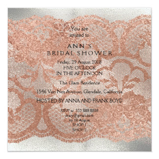 Pink Rose Gold Powder Floral Lace Gray Silver Card