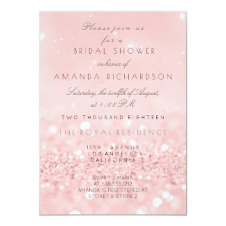 Pink Rose Gold Powder Glitter Bridal Shower Card