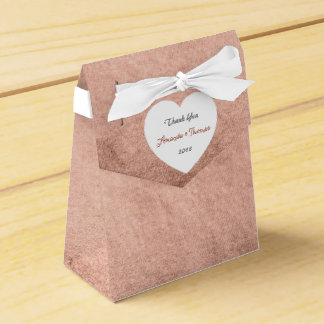 Pink Rose Gold Powder Heart Birthday Wedding Favor Favor Box