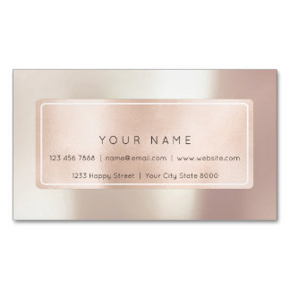 Pink Rose Gold Powder Metal Blush Beauty Spa Blogg Magnetic Business Card