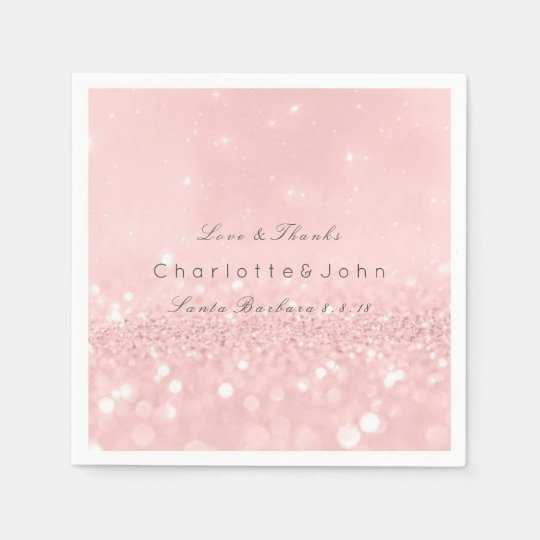 Pink Rose Gold Powder Sparkly Glitter Custom Disposable Napkins