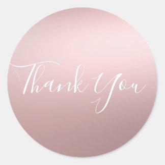 Pink Rose Gold Shine Shiny Metallic Glam Favor Classic Round Sticker