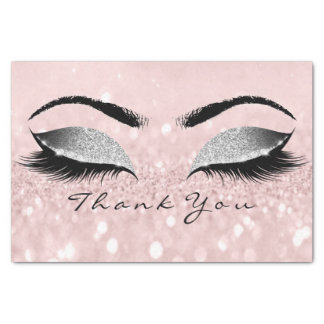 Pink Rose Gold Silver Glitter Thank You Eyes Tissue Paper