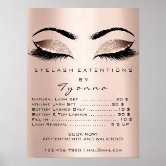 Pink Rose Gold Skin Makeup Eyes Lashes Prices Poster