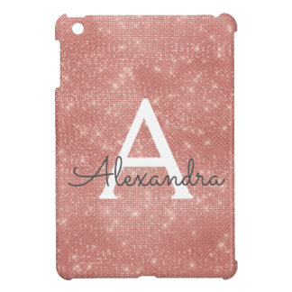 Pink Rose Gold Sparkle Modern Monogram Name Cover For The iPad Mini