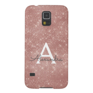 Pink Rose Gold Sparkle Modern Monogram Name Galaxy S5 Case