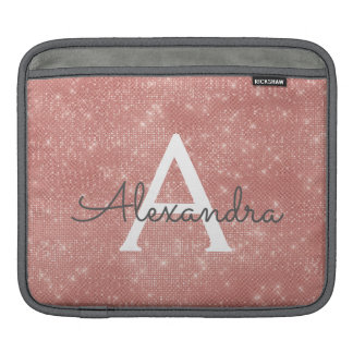 Pink Rose Gold Sparkle Modern Monogram Name iPad Sleeve
