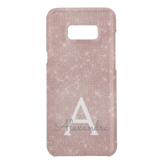Pink Rose Gold Sparkle Modern Monogram Name Uncommon Samsung Galaxy S8 Plus Case