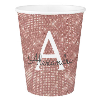 Pink Rose Gold Sparkle Monogram Name Paper Cup