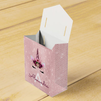 Pink Rose Gold Sparkle Unicorn Monogram Birthday Favor Box