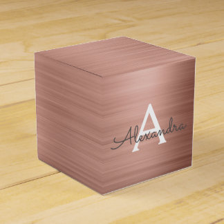 Pink Rose Gold Stainless Steel Monogram Favor Box