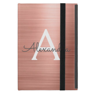 Pink Rose Gold Stainless Steel Monogram iPad Mini Case