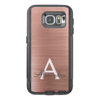 Pink Rose Gold Stainless Steel Monogram OtterBox Samsung Galaxy S6 Case