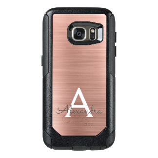Pink Rose Gold Stainless Steel Monogram OtterBox Samsung Galaxy S7 Case