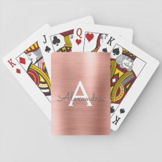 Pink Rose Gold Stainless Steel Monogram Playing Cards