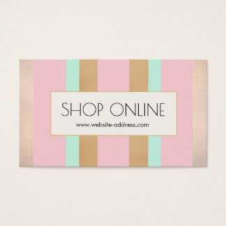 Pink, Rose Gold Stripes Promotional Price Tag Business Card